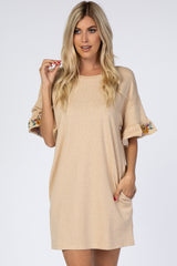 Beige Embroidered Tie Back Terry Maternity Dress