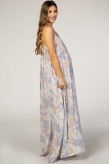 Lavender Abstract Print Square Neck Thin Adjustable Strap Maternity Maxi Dress