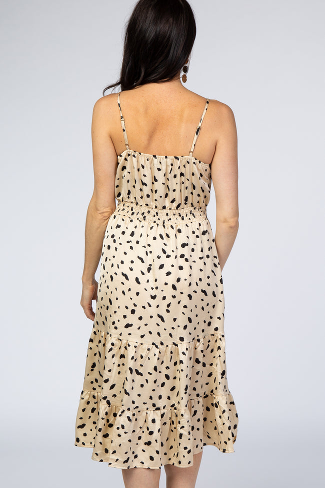 Cream Polka Dot Front Knot Dress