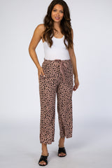 Mauve Leopard Side Slit Maternity Pants