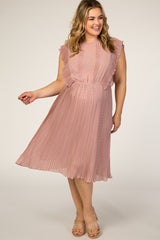 Mauve Swiss Dot Ruffle Sleeve Plus Maternity Dress