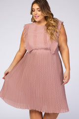Mauve Swiss Dot Ruffle Sleeve Plus Dress