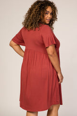 Rust Solid Plus Maternity Babydoll Dress