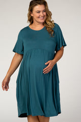 Teal Solid Plus Maternity Babydoll Dress