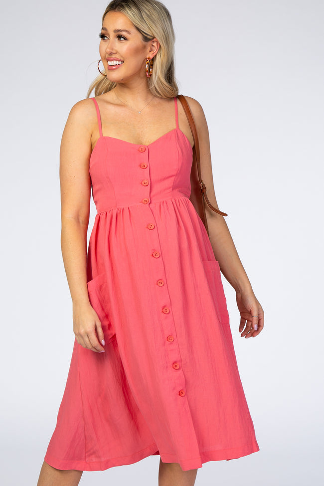 Coral Button Front Maternity Midi Dress