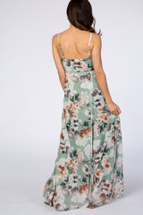 Sage Green Floral Waist Tie Maxi Dress