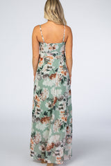 Sage Green Floral Waist Tie Maternity Maxi Dress