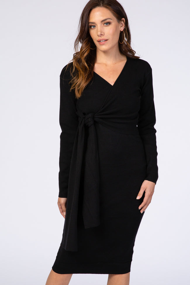 Black Wrap Tie Fitted Sweater Dress