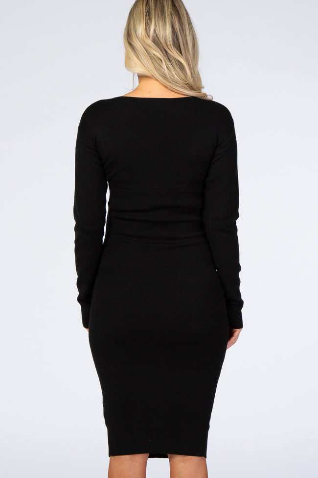 Black Wrap Tie Fitted Maternity Sweater Dress