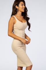 Waverleigh Taupe Sleeveless Fitted Ribbed Dress