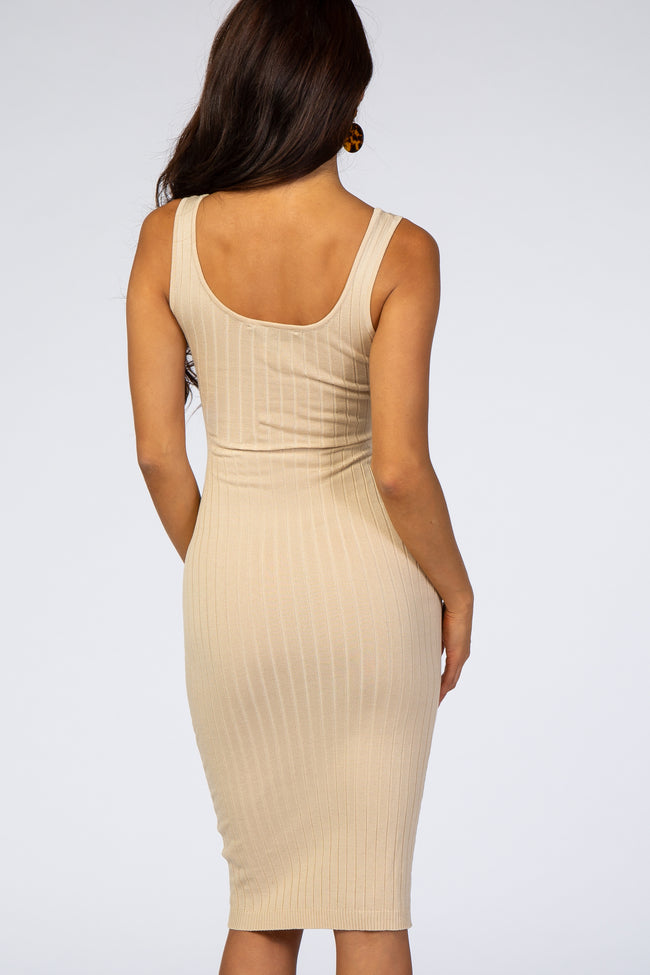Taupe Sleeveless Fitted Ribbed Dress