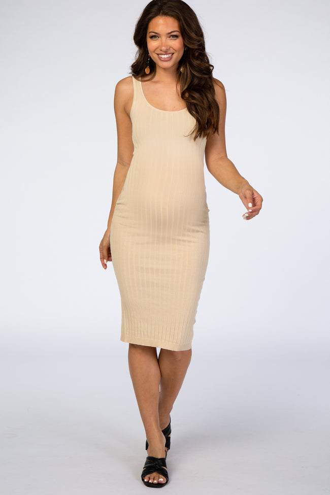 Waverleigh Taupe Sleeveless Fitted Ribbed Maternity Dress