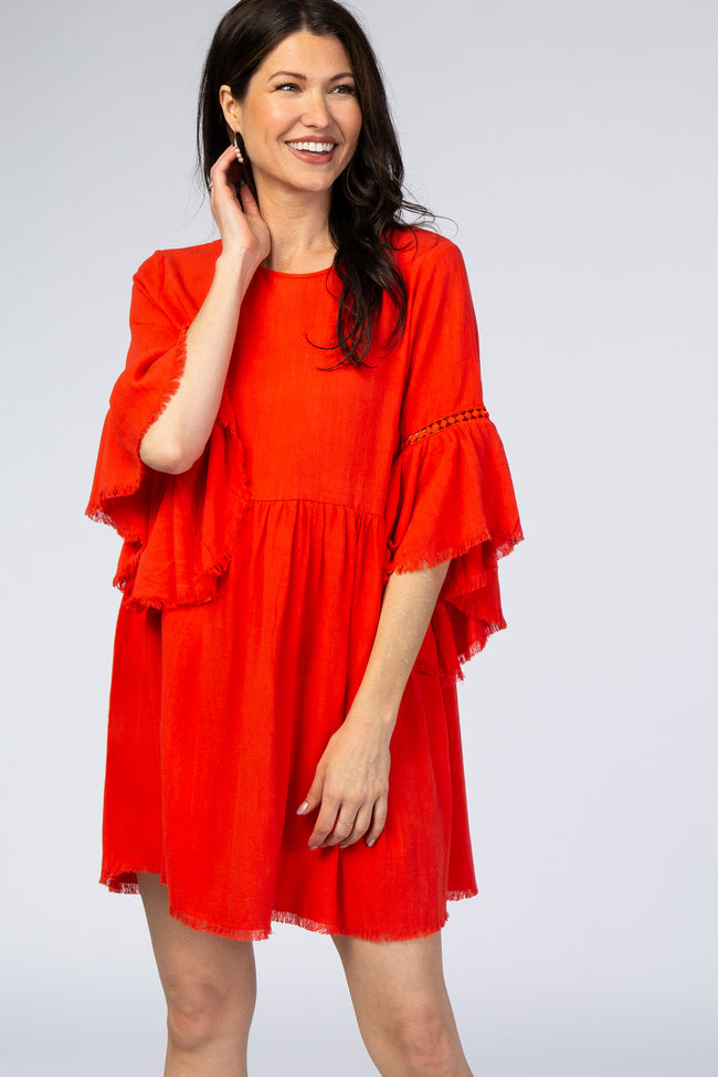 Red Raw Edge Bell Sleeve Babydoll Dress