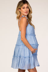 Light Blue Tiered Ruffle Maternity Dress