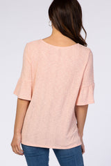 Peach Ribbed Knit Top