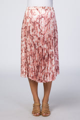 Pink Marble Printed Pleated Elastic Waist Maternity Skirt