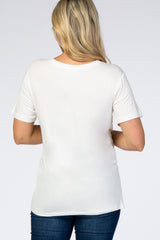 Ivory Short Sleeve V- Neck Maternity Top