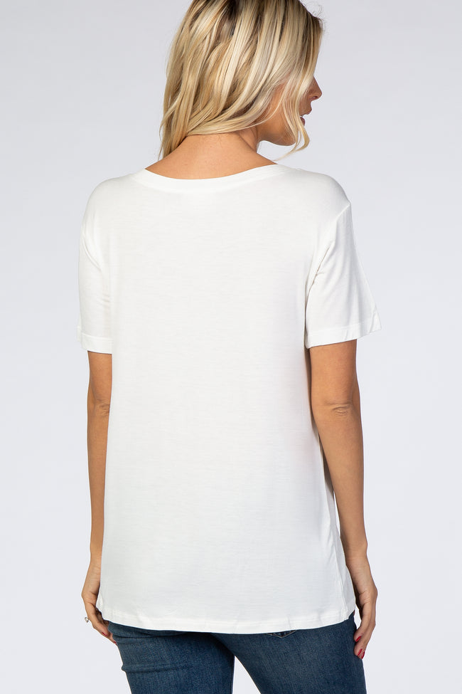 Ivory Short Sleeve V- Neck Top
