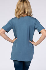 Blue V-Neck Short Sleeve Top