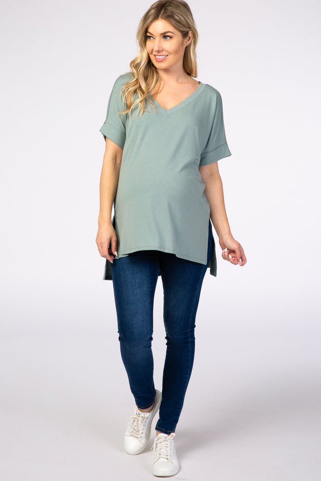 Mint Green V-Neck Cuffed Short Sleeve Maternity Top