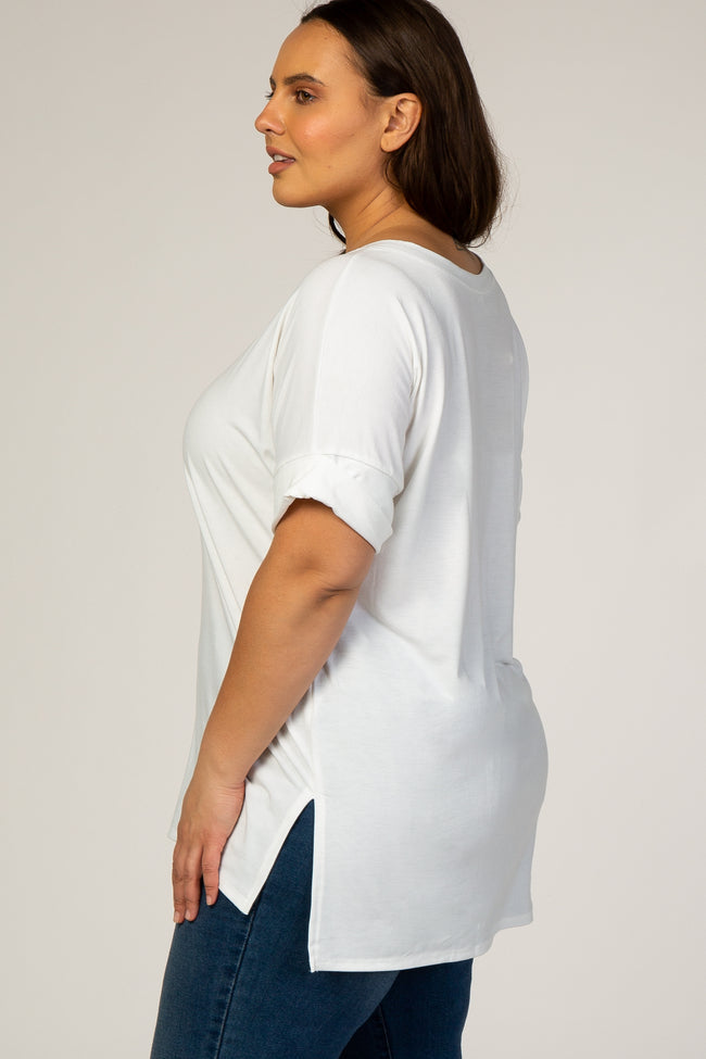 White V-Neck Cuffed Short Sleeve Plus Top