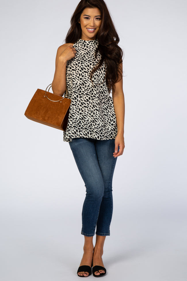 Cream Animal Print Sleeveless Keyhole Cutout Blouse