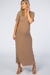 Mocha Ribbed Side Slit Button Knit Maternity Dress