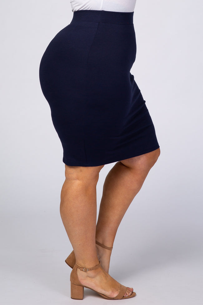 Navy Blue Fitted Plus Midi Skirt