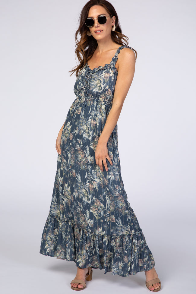 Blue Floral Shimmer Lace-Up Maxi Dress