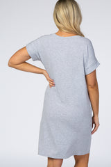 Heather Grey Cuff Sleeve Maternity Dress