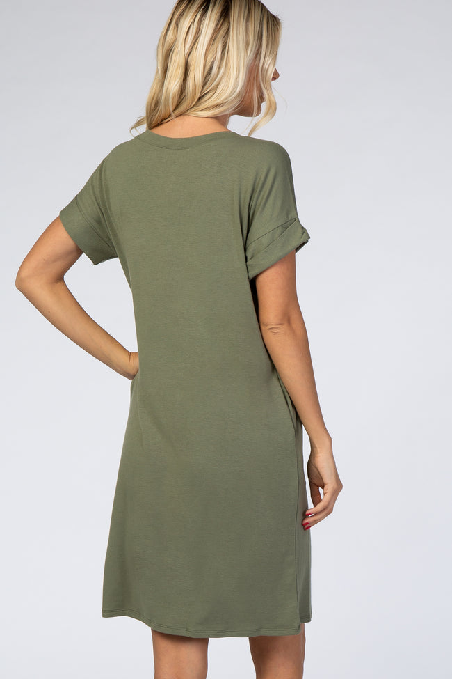 Olive Cuffed Sleeve Maternity Dress