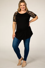Black Lace Sleeve Short Sleeve Maternity Plus Top