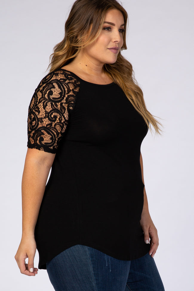 Black Lace Sleeve Short Sleeve Plus Top