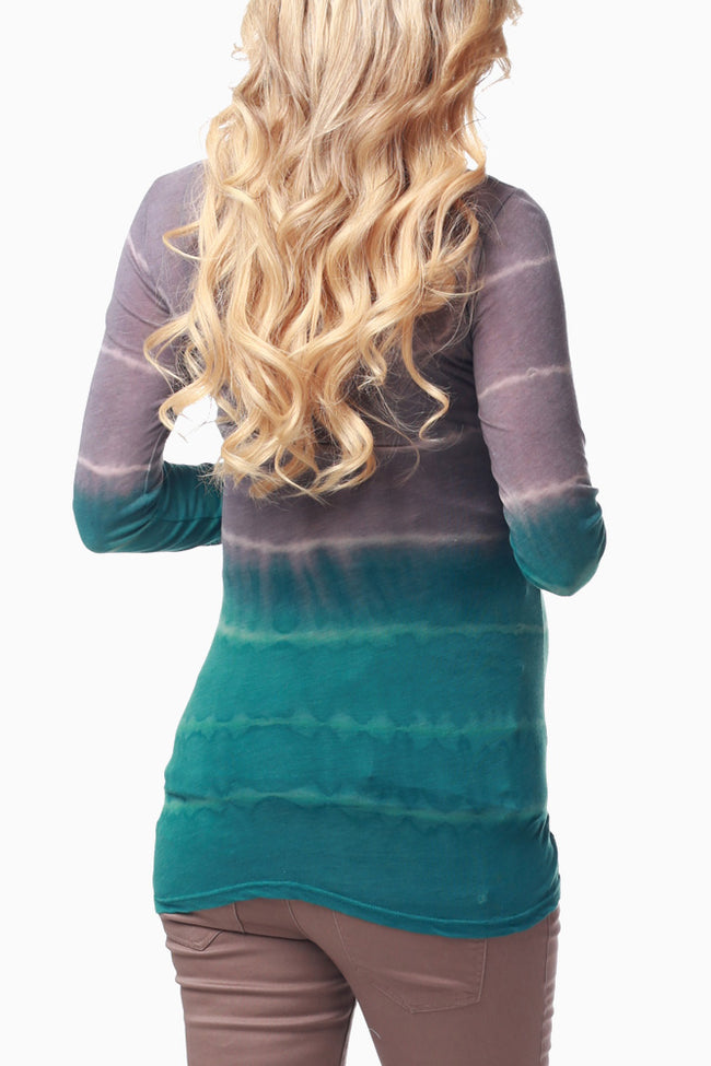 Jade Tie Dye Fitted Maternity Top