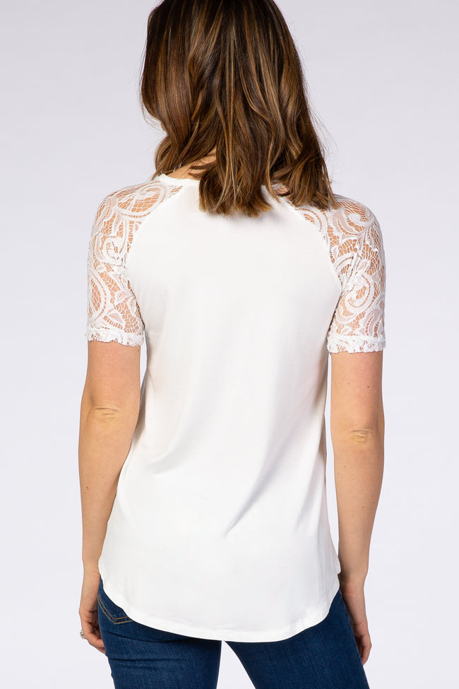 Ivory Lace Sleeve Short Sleeve Top