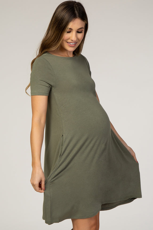 Olive Solid Short Sleeve Maternity Swing Dress