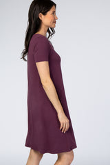 Purple Basic Short Sleeve Dress