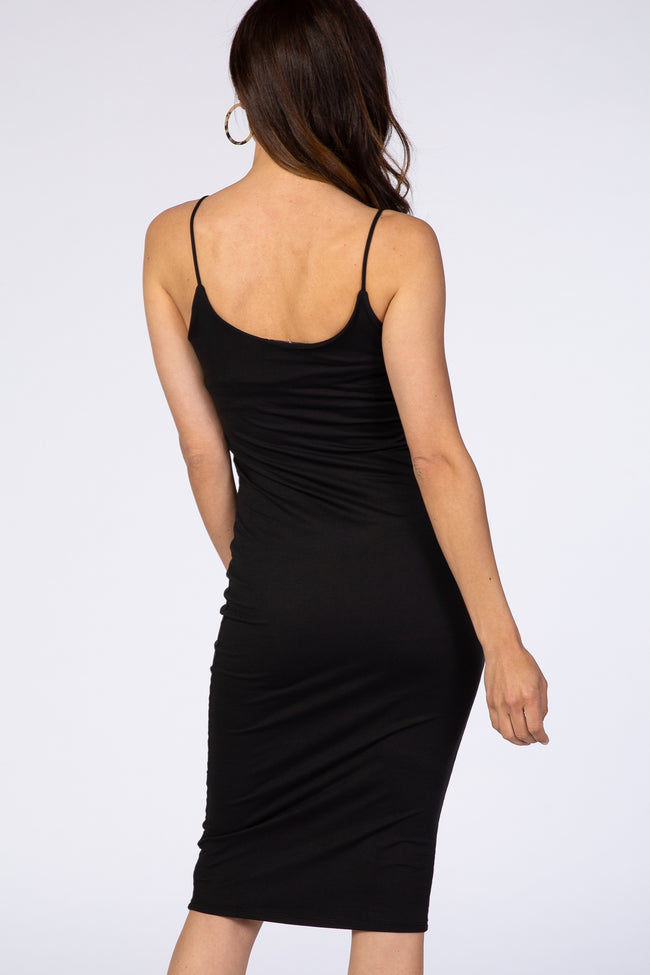 Waverleigh Black Thin Strap Fitted Basic Dress