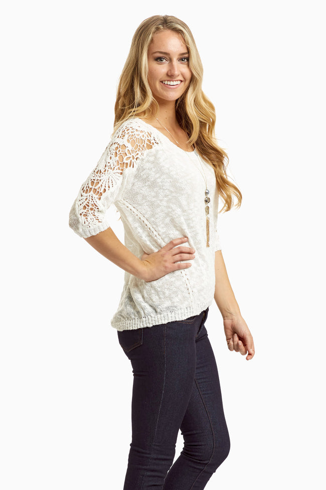 White Crochet Sleeve Sweater