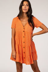 Orange Printed Button Down Maternity Dress