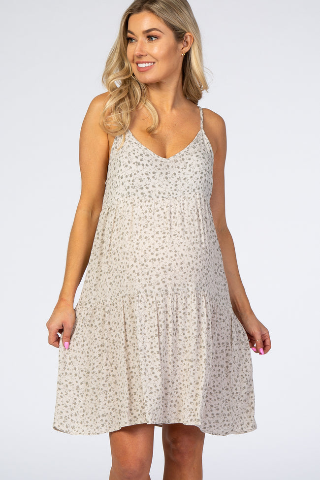 Beige Floral Thin Strap V-Neck Maternity Dress