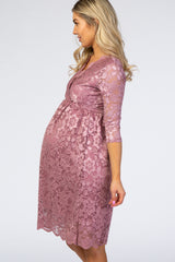 Mauve 3/4 Sleeve Floral Lace Maternity Nursing Dress