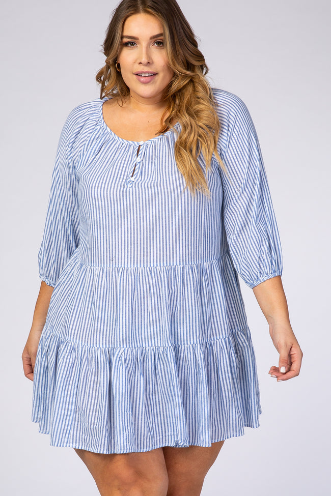 Blue Striped 3/4 Sleeve Tiered Plus Dress