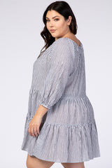Charcoal Striped 3/4 Sleeve Tiered Plus Dress