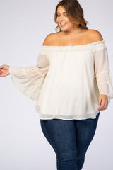 Cream Swiss Dot Off Shoulder Chiffon Plus Maternity Blouse