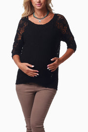 Black Crochet Sleeve Maternity Sweater