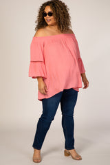 Coral Swiss Dot Off Shoulder Plus Maternity Top