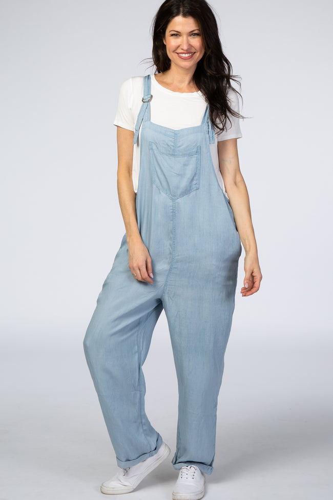 Light Blue Fabric Adjustable Strap Straight Leg Overalls