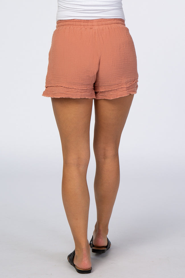 Coral Layered Hem Frayed Maternity Shorts with Pockets