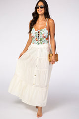 Ivory Crochet Detail Button Detail Maxi Skirt